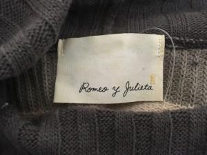ロメオ y ジュリエッタ Romeo y Julieta ワンピース レディース グレー×ピンク ボーダー/ニット/タートルネック【中古】
