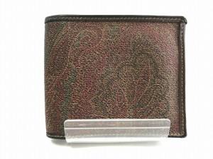 エトロ ETRO 2つ折り財布 ボルドー×ダークブラウン×グリーン ペイズリー柄 PVC(塩化ビニール)×レザー【中古】