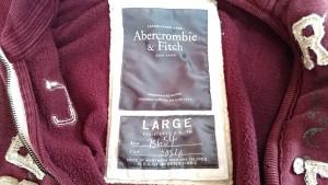 アバクロンビーアンドフィッチ Abercrombie&Fitch ブルゾン サイズL メンズ レッド×白×ブラウン 冬物/ダメージ加工【中古】