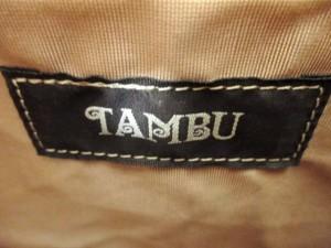 タンブゥ TAMBU トートバッグ ライトブラウン×ブルー×マルチ 麻×ウッド×ビーズ【中古】