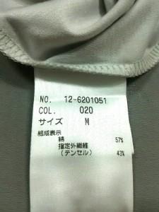 プラステ PLS+T(PLST) 半袖カットソー サイズM レディース 美品 ライトグレー×白【中古】