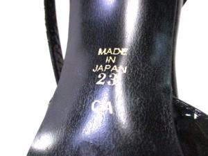 ダイアナ DIANA サンダル 23 レディース 黒×ゴールド×マルチ エナメル(レザー)×カラーストーン【中古】