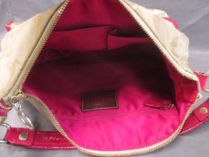 コーチ COACH ハンドバッグ ポピー シグネチャー ポケット ホーボー 14570 ベージュ×ピンク ジャガード×エナメル(レザー)【中古】