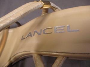ランセル LANCEL サンダル 23 レディース 美品 ベージュ×ブラウン ビニール×レザー【中古】