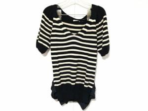 ルビーリベット Rubyrivet 半袖セーター レディース 黒×アイボリー ボーダー/フリル【中古】