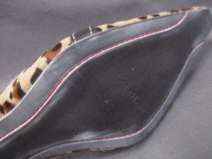 コールハーン COLE HAAN ミュール 6 1/2 B レディース 美品 ベージュ×ダークブラウン×ブラウン 豹柄 ハラコ×レザー【中古】