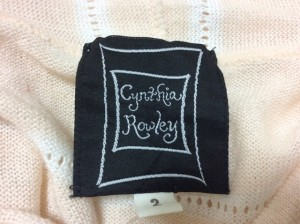 シンシアローリー CYNTHIA ROWLEY カーディガン サイズ2 S レディース ベージュ×白 フード【中古】