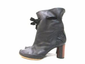 ジョルジーナグッドマン ショートブーツ 35 1/2 レディース 黒 アウトソール張替済/リボン レザー×化学繊維【中古】