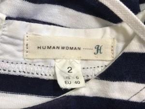 ヒューマンウーマン HUMAN WOMAN ワンピース サイズM レディース ダークネイビー×アイボリー ボーダー【中古】