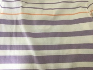 アダバット Adabat 長袖ポロシャツ サイズ36 S レディース パープル×白×ピンク ボーダー/ハーフジップ【中古】