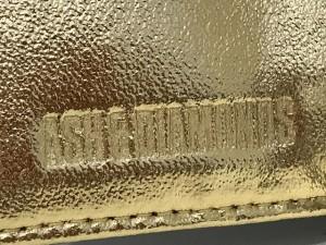 アッシュ&ダイヤモンド ASH&DIAMONDS 長財布 ブラウンゴールド×ゴールド×クリア ラインストーン レザー【中古】