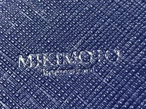 ミキモト mikimoto カードケース 美品 ブルー レザー【中古】