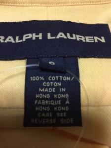 ラルフローレン RalphLauren 長袖シャツ サイズ6 メンズ 美品 イエロー【中古】