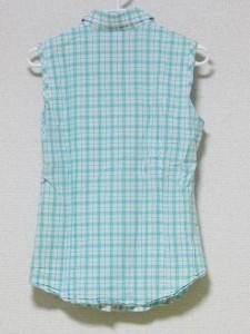 ラコステ Lacoste ノースリーブシャツブラウス サイズ38 M レディース ライトグリーン×白【中古】