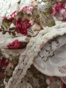 リズリサ LIZLISA ワンピース サイズF レディース アイボリー×ボルドー×マルチ 花柄/刺繍/メッシュ【中古】