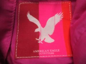 アメリカンイーグル American Eagle トートバッグ ライトグレー×ピンク×マルチ コットン【中古】