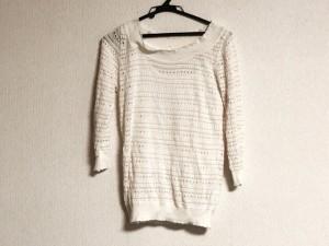 レストローズ L'EST ROSE 七分袖セーター レディース 美品 白×ピンク【中古】