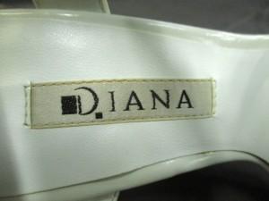 ダイアナ DIANA サンダル 22 1/2 レディース 白×黒 ウェッジソール レザー【中古】
