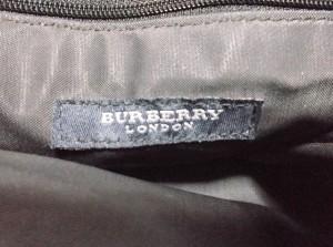 バーバリーロンドン Burberry LONDON トートバッグ ネイビー×白×マルチ チェック柄 ナイロンジャガード×レザー【中古】
