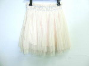 ダズリン DAZZLIN スカート サイズF レディース 美品 ベージュ×シルバー プリーツ/メッシュ【中古】
