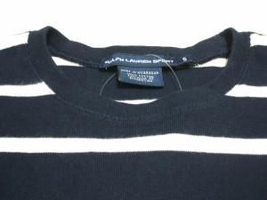 ラルフローレンスポーツ RALPHLAUREN SPORT 半袖セーター サイズS レディース ダークブラウン×黒×白 ボーダー【中古】