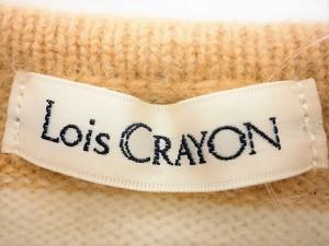 ロイスクレヨン Lois CRAYON カーディガン サイズM レディース 美品 アイボリー×ライトブラウン リボン/ボーダー【中古】