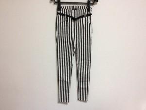 エモダ EMODA パンツ サイズS レディース 白×黒 ストライプ【中古】