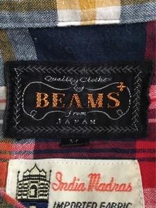 ビームス BEAMS 長袖シャツ サイズM メンズ レッド×ネイビー×マルチ チェック柄【中古】
