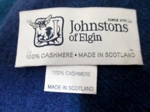ジョンストンズ johnstons of elgin ストール(ショール) 美品 ネイビー×ブルー×マルチ カシミヤ【中古】