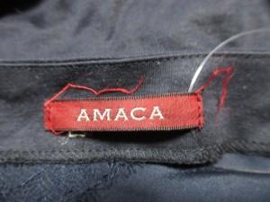 アマカ AMACA 半袖カットソー サイズ38 M レディース ダークネイビー×黒 レース【中古】