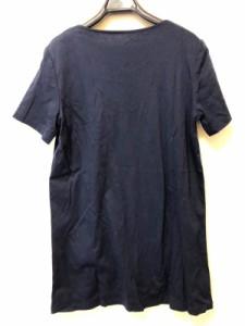 レリアン Leilian 半袖Tシャツ サイズ9 M レディース ネイビー×シルバー スタッズ【中古】