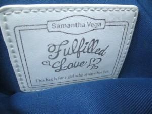 サマンサベガ Samantha Vega ショルダーバッグ ブルー×白×ライトブラウン 刺繍/フラワー デニム×合皮【中古】