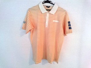 シーダブリューエックス CW-X 半袖ポロシャツ サイズLL メンズ 白×オレンジ×イエロー ボーダー【中古】
