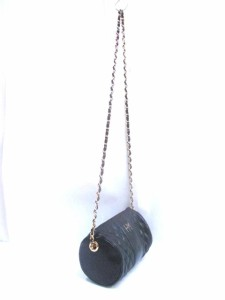 ハナエモリ HANAE MORI ショルダーバッグ 黒×ゴールド チェーンショルダー/キルティング レザー×金属素材【中古】
