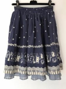 アクシーズファム axes femme スカート サイズM レディース 美品 ネイビー×アイボリー×ブルーグレー 花柄/プリーツ【中古】