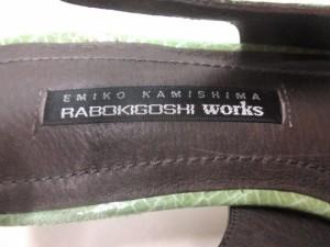 ラボキゴシ RABOKIGOSHI サンダル 24 レディース 美品 グリーン エナメル(レザー)【中古】