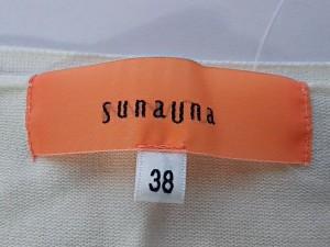 スーナウーナ SunaUna カーディガン サイズ38 M レディース 白 スパンコール/花柄刺繍【中古】