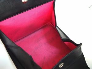 ケンゾー KENZO 3つ折り財布 黒 型押し加工 レザー【中古】