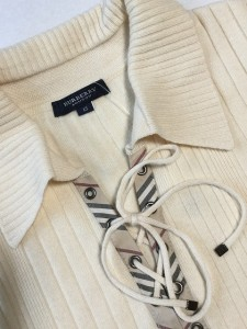 バーバリーロンドン Burberry LONDON 半袖セーター サイズ15 L レディース アイボリー×ベージュ×マルチ チェック柄【中古】