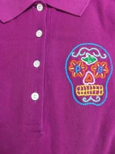パーリーゲイツ PEARLY GATES 半袖ポロシャツ サイズ0 XS レディース ピンク×ライトブルー×マルチ スカル/刺繍【中古】