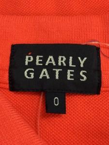 パーリーゲイツ PEARLY GATES 半袖ポロシャツ サイズ0 XS レディース レッド×ダークネイビー×マルチ 刺繍【中古】