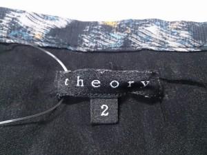 セオリー theory ミニスカート サイズ2 S レディース 美品 ダークネイビー×ライトグレー×マルチ シルク【中古】