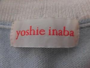 ヨシエイナバ YOSHIE INABA カーディガン サイズ9 M レディース ライトブルー×アイボリー カシミヤ【中古】