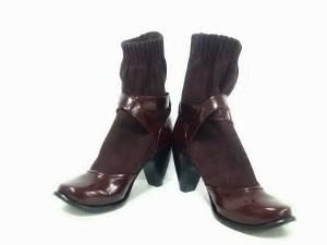マークジェイコブス MARC JACOBS ブーツ 37 1/2 レディース ボルドー ヌバック×エナメル(レザー)【中古】
