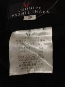 レキップ ヨシエイナバ L'EQUIPE YOSHIE INABA パンツ レディース 美品 黒【中古】