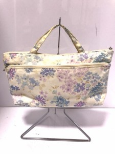 ローラアシュレイ LAURAASHLEY ハンドバッグ 白×パープル×ライトブルー 花柄 コットン【中古】