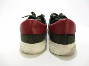 バレンチノガラバーニ スニーカー 43 メンズ カーキ×ダークグリーン×マルチ 迷彩柄/16AW 化学繊維×レザー【中古】