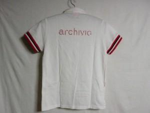 アルチビオ archivio 半袖ポロシャツ サイズ40 M レディース 白×レッド フェイクパール/ラインストーン【中古】