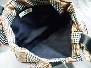 ミミ Mimi トートバッグ レディース ブラウン×黒×マルチ チェック柄/フリル ナイロン【中古】