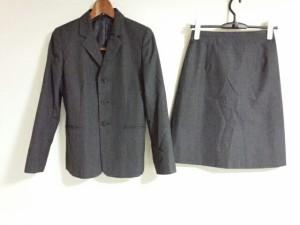 イネド INED スカートスーツ サイズ2 M レディース 美品 ダークグレー 肩パッド【中古】
